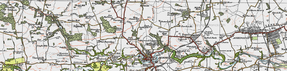 Old map of West Shield Hill in 1925