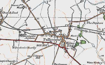 Old map of Fulbourn in 1920