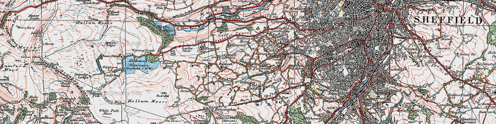 Old map of Whiteley Wood in 1923