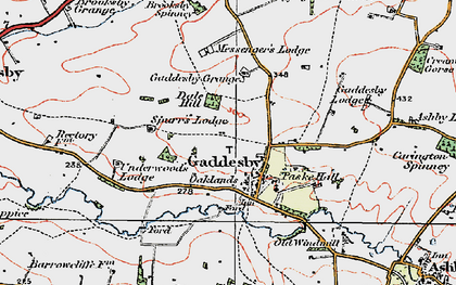 Old map of Gaddesby in 1921