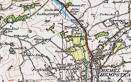 Old map of Gadebridge in 1920