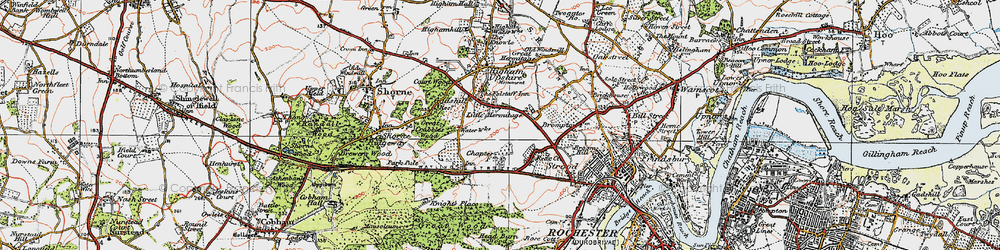 Old map of Gadshill in 1921