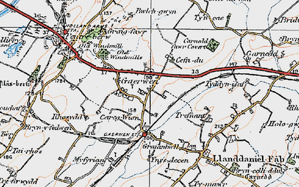 Old map of Gaerwen in 1922