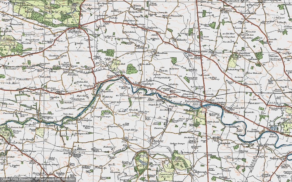 Old Map of Gainford, 1925 in 1925