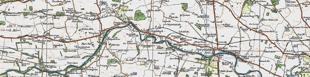 Old map of West Tees Br in 1925