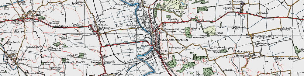 Old map of Gainsborough in 1923