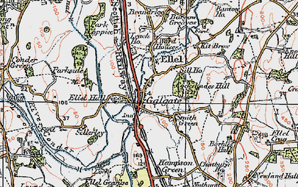 Old map of Galgate in 1924