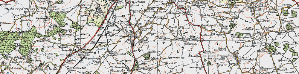 Old map of Galleywood in 1921