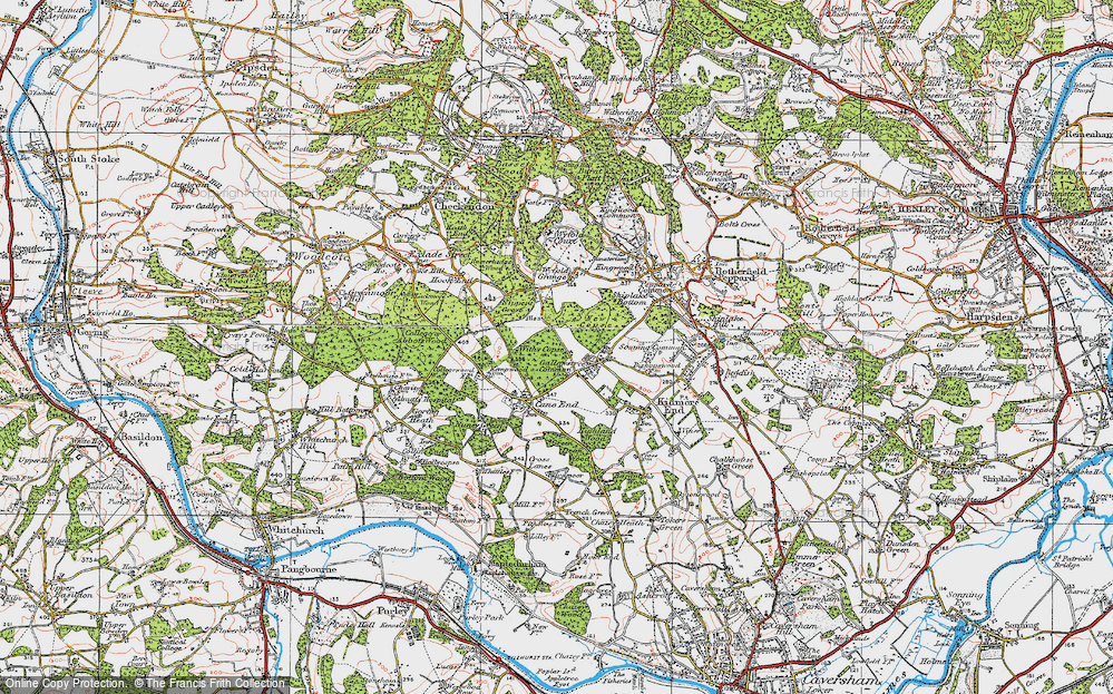 Old Map of Historic Map covering Wyfold Grange in 1919