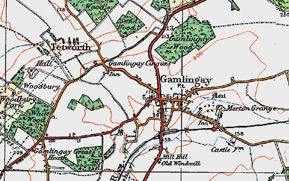 Old map of Gamlingay in 1919