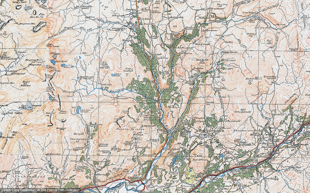 Old Map of Historic Map covering Afon Gamlan in 1921