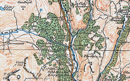 Old map of Afon Gamlan in 1921