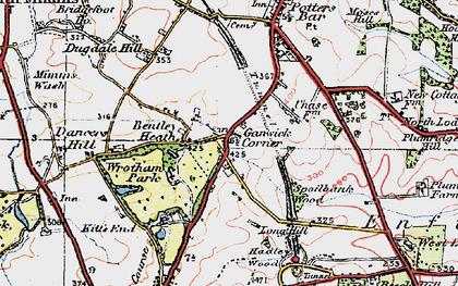Old map of Ganwick Corner in 1920