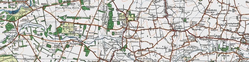 Old map of Garboldisham in 1920