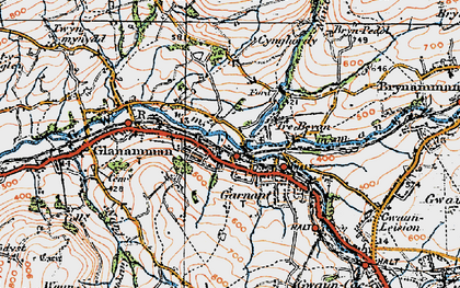 Old map of Banc Cwmhelen in 1923