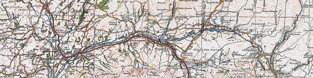 Old map of Garnant in 1923