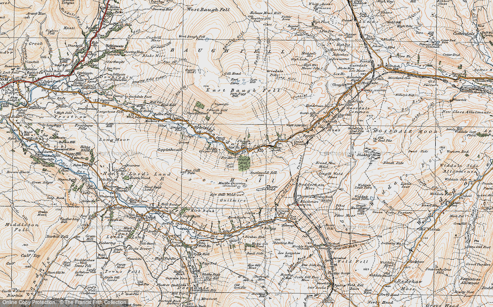 Old Map of Historic Map covering Aye Gill Pike in 1925