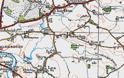 Old map of Garsdon in 1919