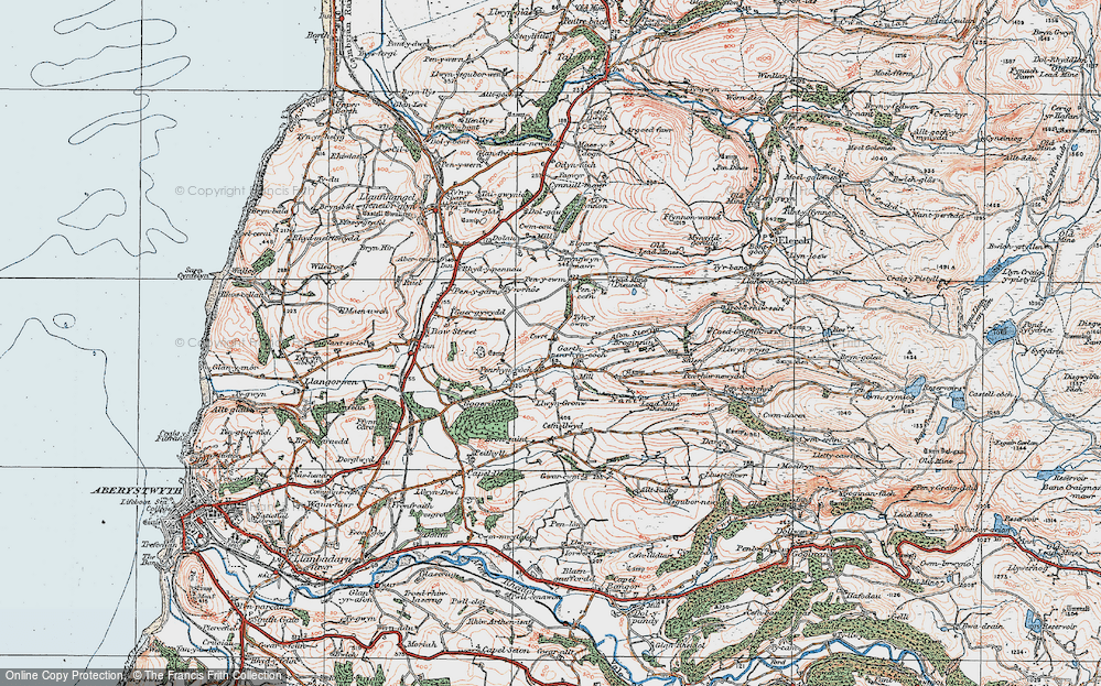 Old Map of Historic Map covering Afon Stewy in 1922