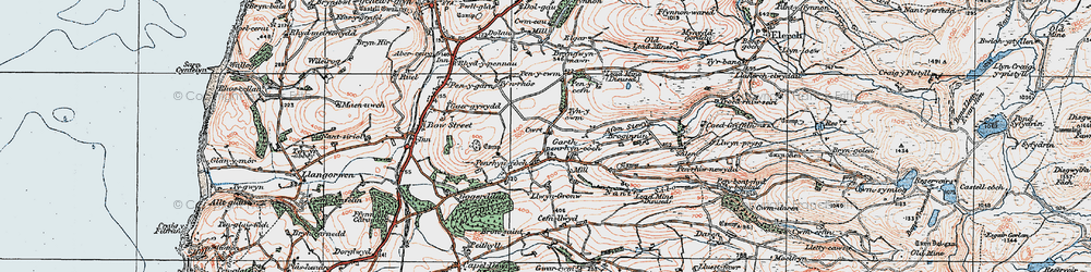 Old map of Afon Stewy in 1922