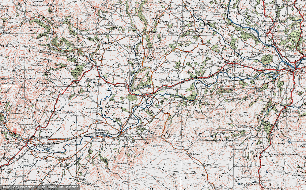 Old Map of Historic Map covering Banc y Cwm in 1923