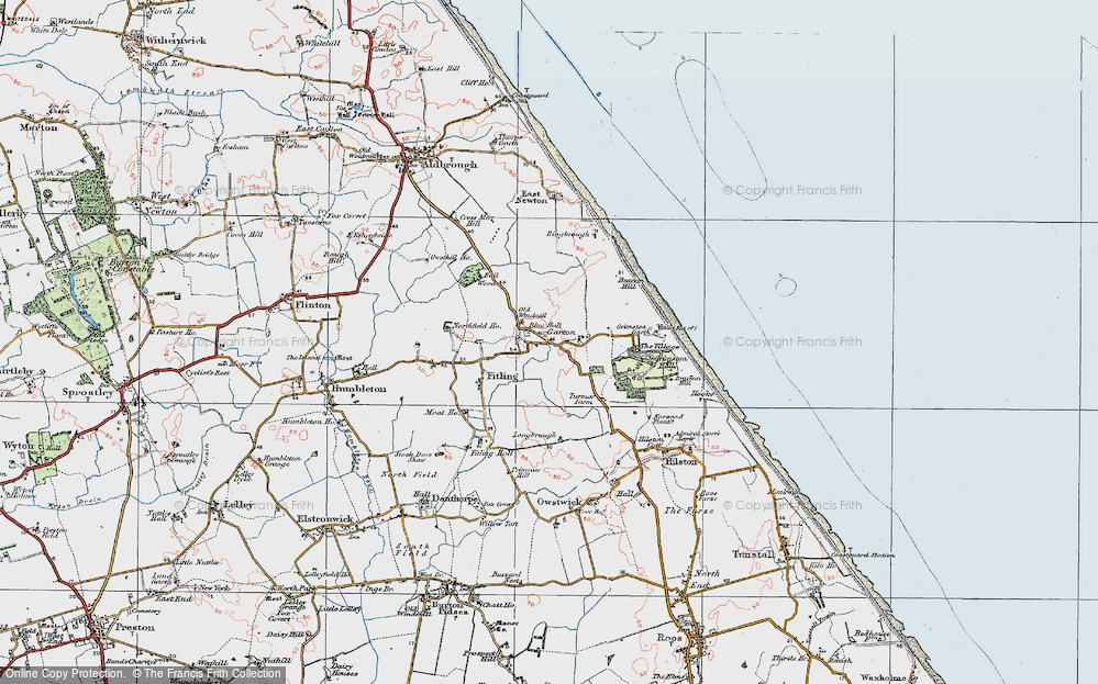 Old Map of Historic Map covering Bail Wood in 1924