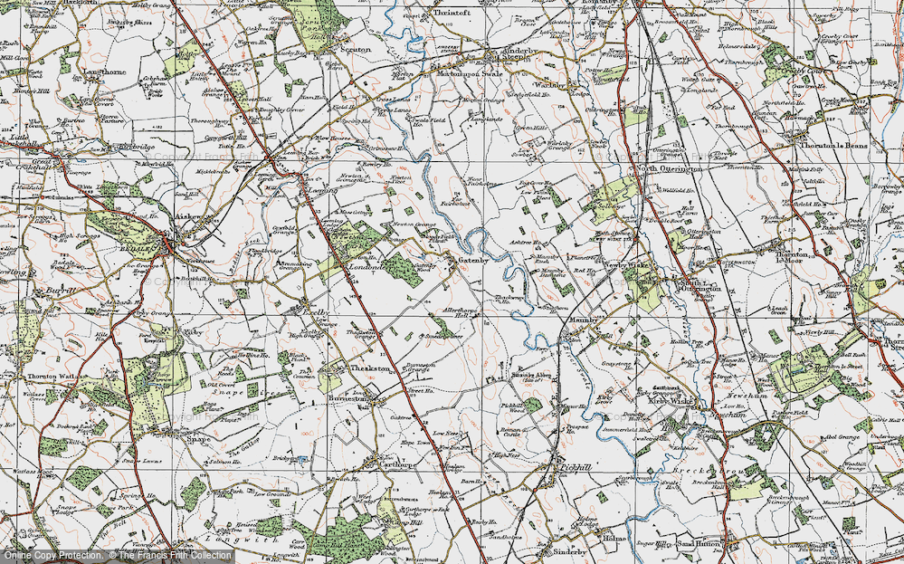Old Map of Historic Map covering Allerthorpe Hall in 1925