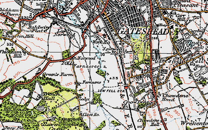 Old map of Gateshead in 1925