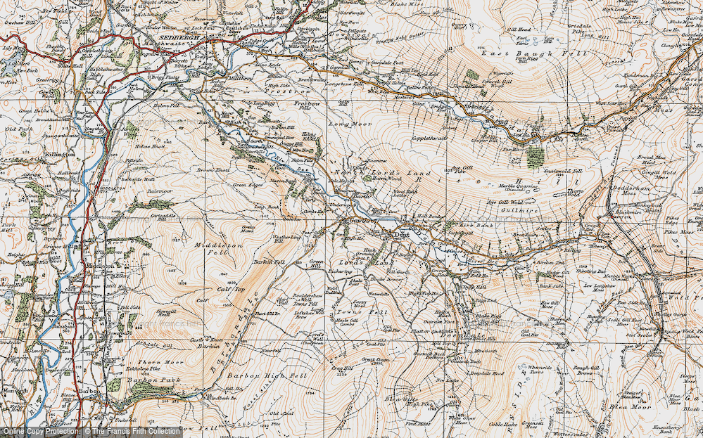 Old Map of Historic Map covering Wood Head Lathe in 1925