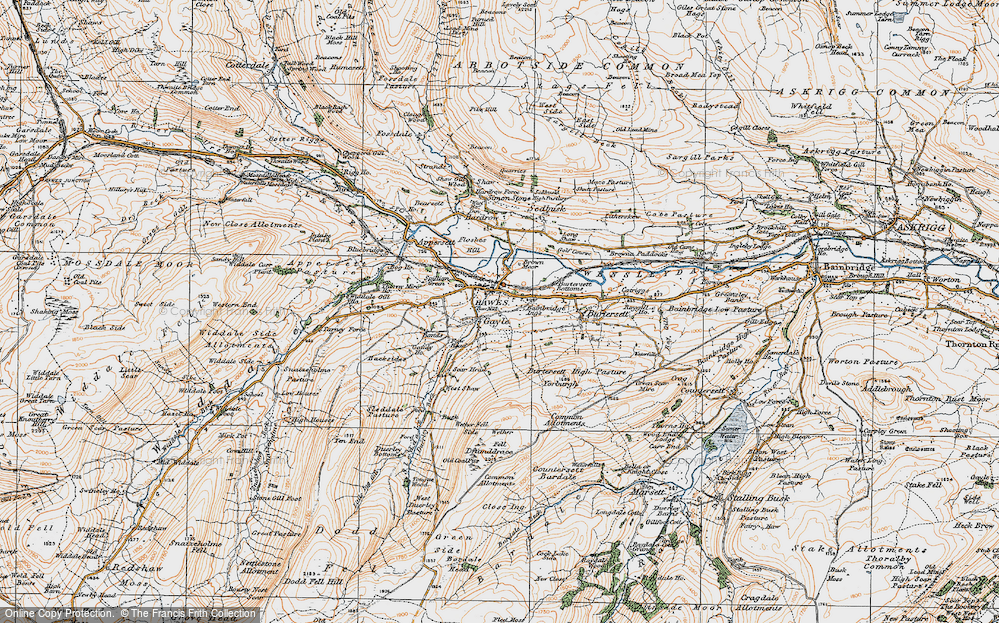 Old Map of Historic Map covering Bands in 1925