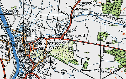 Old map of Gaywood in 1922