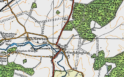 Old map of Geddington in 1920