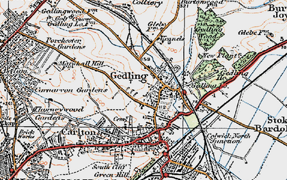 Old map of Gedling in 1921