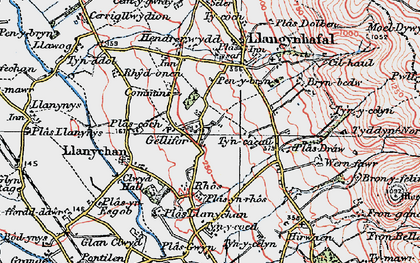 Old map of Gellifor in 1924