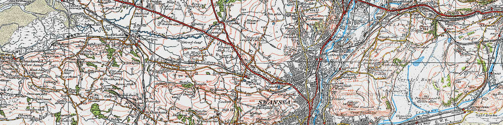 Old map of Gendros in 1923