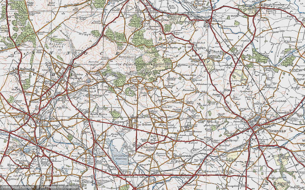 Old Map of Gentleshaw, 1921 in 1921