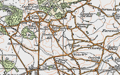 Old map of Gentleshaw in 1921