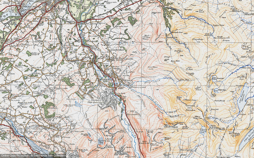 Old Map of Historic Map covering Afon Ffrydlas in 1922