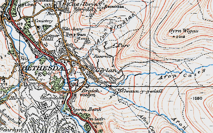 Old map of Afon Ffrydlas in 1922