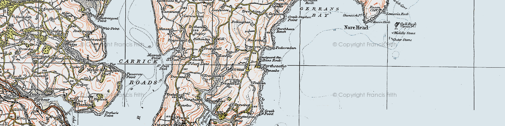 Old map of Gerrans in 1919