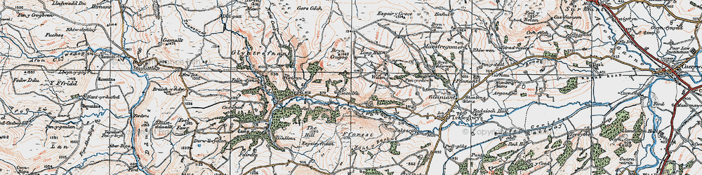 Old map of Afon Trannon in 1921
