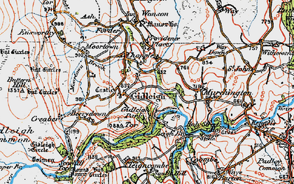 Old map of Gidleigh in 1919