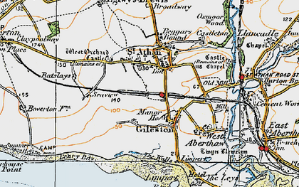 Old map of Gileston in 1922