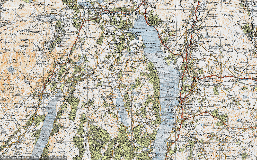 Old Map of Historic Map covering Latterbarrow in 1925