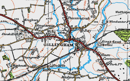 Old map of Gillingham in 1919