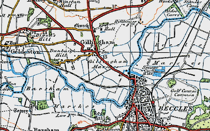 Old map of Barsham Marshes in 1921