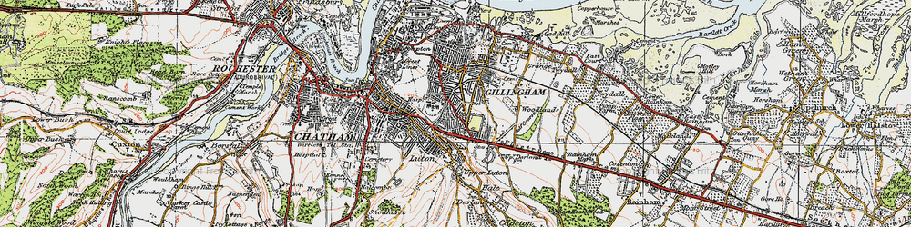 Old map of Gillingham in 1921
