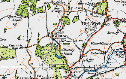 Old map of Gilston Park in 1919