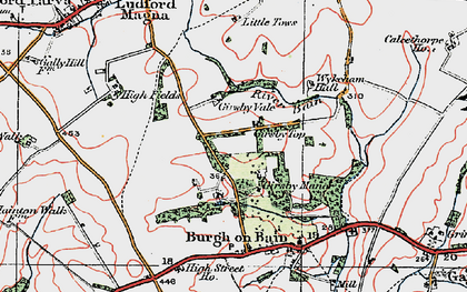 Old map of Girsby Top in 1923