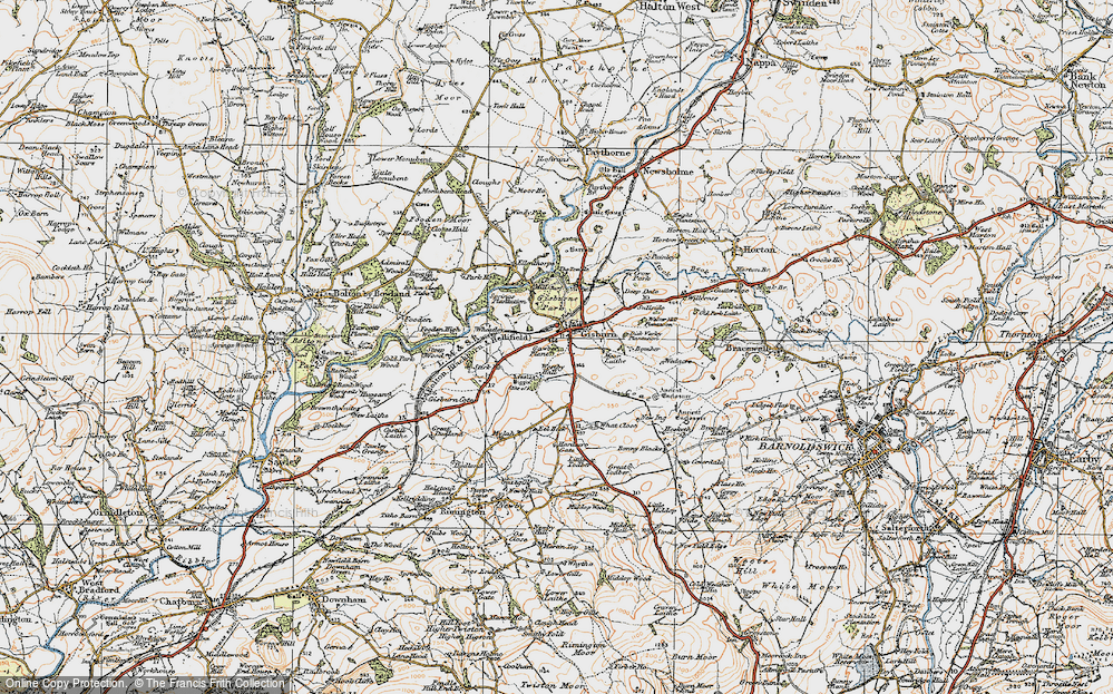 Old Map of Gisburn, 1924 in 1924